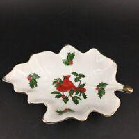Vintage Lefton China Christmas Trinket Ring Dish Cardinal Holly Leaf Gold Trim