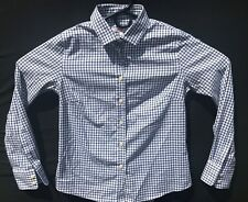 Peter Millar Men's Tatersall White/Black Long Sleeve Size Small