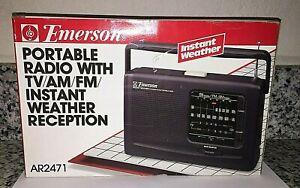 Vintage Emerson AR2471 Portable Radion with AM FM Instant Weather TV Band BNIB!