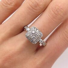 925 Sterling Silver Real Diamond Ring Size 7