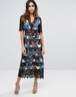 NWT Foxiedox S1322DR Sweetwater Blue Black Floral Dress With Lace XS, S, M & L