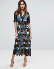NWT Foxiedox S1322DR Sweetwater Blue Black Floral Dress With Lace Panel S, M & L