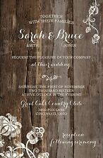 Wedding Invitations Wood & Lace Dangle Rustic Country 50 Invitations & RSVP Card