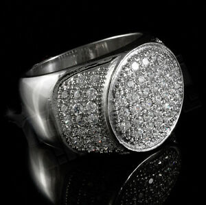 18K IP White Gold Stainless Steel Simulated Diamond Band Micropave Mens Ring