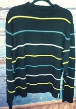 Planet Earth Men's knit sweater size Large black striped