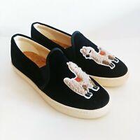 Soludos Womens Sneakers Navy Blue Velvet Llama Sheep Slip On Shoes Size 7 NWOT
