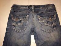 Buckle Big Star Sweet Ultra Low Rise Boot Flap Pockets Stretch Jeans 28 XL x 34