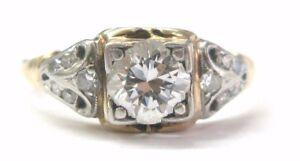 Fine Vintage Round Cut Diamond Engagement Ring .88CT Yellow Gold