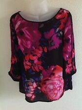 Adriana Papell Bold Floral Print Top Size M