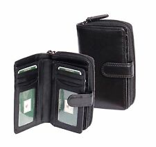 Womens Soft BLACK Leather Purse Clutch Zip Around Cards ID Coins Banknotes Boxed