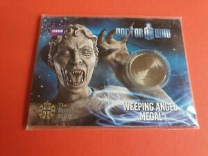 Dr Who Weeping Angel Medal Royal Mint 2010 Blue Card Pack