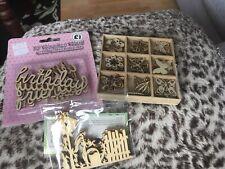 3 Packs Wooden Craft Embellishments