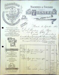 Ancienne Facture H. VIGNERON, Machine à coudre Bd Sébastopol Paris 1921