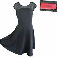 Ladies HUGO BOSS Black Cocktail Dress Smart Sleveless Mesh Detail Dress M/ 14-16