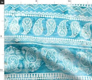 Paisley Bohemian Boho Style Indian Woodblock Spoonflower Fabric by the Yard