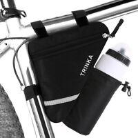 Bicycle Triangle Front Tube Saddle Bike Bag Water Bottle Pocket Reflective