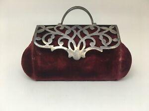 Victorian Sterling & Velvet Pincushion Valise Carpet Bag Rare Buy It Now