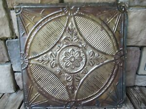 EARLY ANTIQUE ORNATE TIN CEILING WALL TILE RUBBED BRONZE FINISH SALVAGE METAL