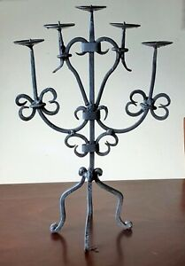 """Vintage Wrought Iron Candelabra 5 Arm Candle Holder 18"""" High"""