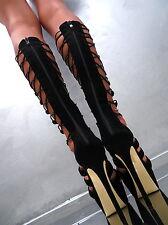 2017 HOHE Plateau Lang Stiefel Damen Luxus Boots Black N76 Schuhe High Heels 37