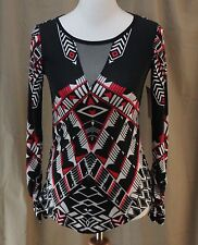 BISOU BISOU, XS, Placement Deco, Red/White/Black Knit Top, New with Tags