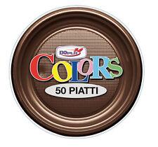 PIATTI PICCOLI FRUTTA DOPLA IN PLASTICA MONOUSO MARRONE CF.50 PZ. TINTA UNITA