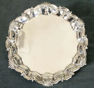 SUPERB 19th. CENTURY STERLING SILVER CARD TRAY / BOTTLE STAND - 1890
