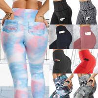 Women High Waist Yoga Leggings Pocket Pants Fitness Sport Gym Athletic Workout