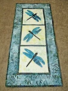 """Hand Made Quilted Table Runner/ Topper /Mat ~ Dragonflies ~ 14.75"""" x 31.5"""""""