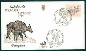 GERMANY FDC 1969 BERLIN ZOO ANIMALS ELEFANT GAUR INDIAN BOVINE COW ff70