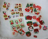102 Vintage Christmas Sticker Gummed Seal Collection Santa Dog Poinsettia Tree +