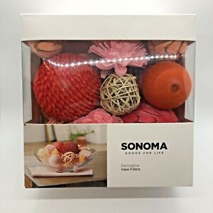 Sonoma Vase Bowl Filler Decorative Spheres Balls Pink Orange Tones (NEW)