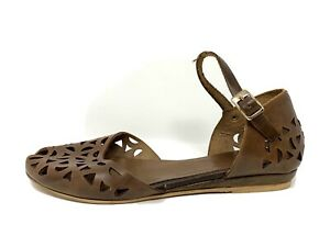 Sundance Catalog Made in Italy Brown Leather Cutout Ankle Strap Sandals SZ 38 8