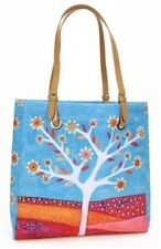 Sascalia Blue Amber Flower White Tree City Tote Handbag