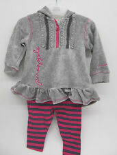 baby girls 2 piece set pink grey velour pineapple 3 - 6 months leggings outfit