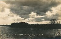 ALBION MI – Sunset on the Kalamazoo River Real Photo Postcard rppc