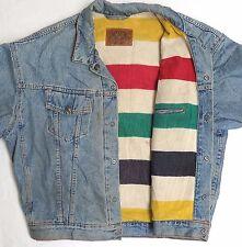 vtg Levi's STRIPED BLANKET LINED Blue Jean Jacket XL heavy usa 90s denim western