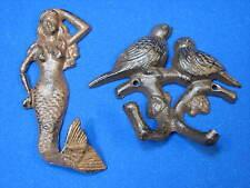 Bird Pair Branch Lot Goddess of the Sea Cast Iron Mermaid Wall Hook Hanger Metal