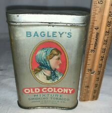 ANTIQUE BAGLEY'S OLD COLONY TOBACCO TIN LITHO VERTICAL POCKET CAN COUNTRY STORE