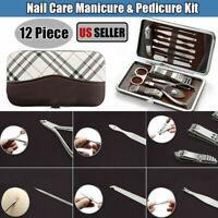 12Pcs Portable Nail Care Kit Manicure Pedicure Cleaner Cuticle Grooming Set Case