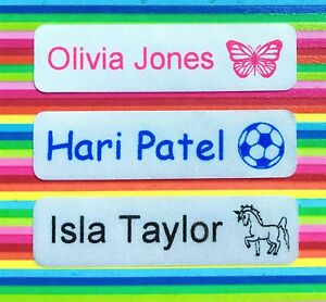 Personalised Iron On Waterproof Name Labels / School Name Tags - Satin Finish