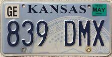 GENUINE American Kansas State Seal USA License Licence Number Plate 839 DMX