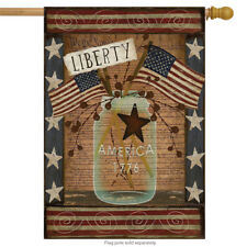 "Liberty Patriotic House Flag Primitive 4th of July USA 28"" x 40"""