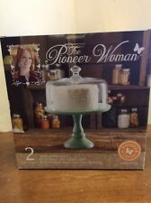 """The Pioneer Woman Jadeite 10"""" Cake Stand with Glass Cover NEW IN BOX"""