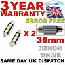 2 X 36MM 3 SMD LED 239 272 C5W CANBUS NO ERROR INTERIOR LIGHT FESTOON BULB WHITE