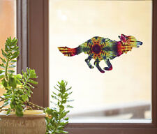 "CLR:WND - Rainbow Tie Dye Fox - Window Vinyl Decal - ©YYDC (6""w x 2.75"")"