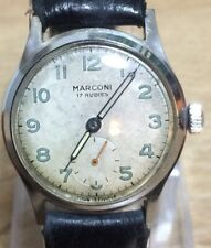 """Gents """"MARCONI"""" 1940s/50s Mechanical Hand Winding 17 Rubis Watch All Stainless"""