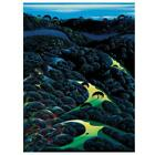 """Eyvind Earle """"Three Pastures On A Hillside"""" Signed Limited Edition Serigraph COA"""