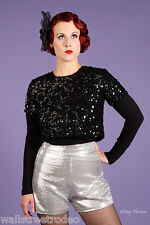 Broad Minded Clothing Sequin High Waist Burlesque Pinup Shorts Hot Pants VLV s