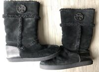 TORY BURCH Nadine Suede And Shearling Mid Shaft Boot Black Size 10